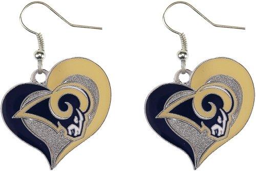 Aminco NFL Los Angeles Rams Swirl Heart Earrings