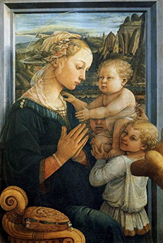 """Madonna with The Child and Two Angels by Fra Filippo Lippi - 18"""" x 27"""" Premium Canvas Print"""