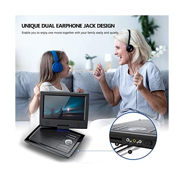 Portable DVD Player for Car with 9.5 Inch HD Swivel Screen, 5 Hours Rechargeable Battery, Dual Earphone Jack, Supports SD Card/USB/CD/DVD, with Extra Headrest Mount Case 6