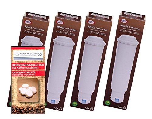 Lot de 4 cartouches filtrantes pour toutes les machines à café Melitta + 10 tablettes de nettoyage.
