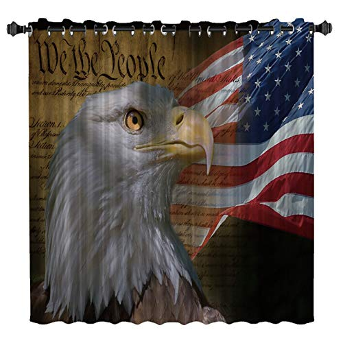Blackout Grommet Curtains, USA Flag American Patriotic Eagle Independence Day Theme 52 inch Wide by 84 inch Long Wide Sliding Door Curtain One Panel