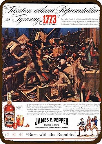 Odeletqweenry Aluminium Teken Maatregelen 7 X 10 Tin Sign, 1940 JAMES E PEPPER Whisky Vintage Look Replica Metalen Teken 1773 BOSTON TEA PARTY