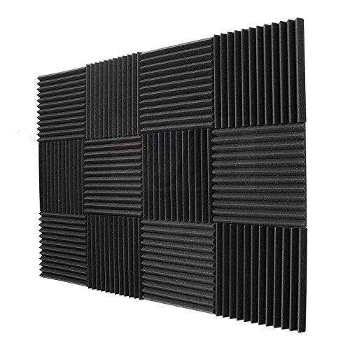 SODIAL Paquet de 12 - Panneaux insonorisants d'eponge d'ingenierie de mousse de panneaux acoustiques 1 pouce x 12 pouces x 12inch