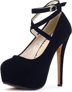 fereshte Women's Ankle Strap Platform High Heels Party Dress Pumps Shoes