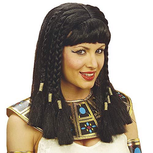 Widmann 6316R – pruik Egyptische koningin, zwart, met gevlochten vlechten, Cleopatra pruik, langharige pruik, tweehaar, motto party, carnaval