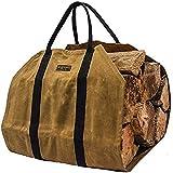 Borsa porta legna in tela cerata resistente, grande borsa per legna da ardere, durevole porta legna da ardere, accessori per camino, stufa a legna, colore: ruggine