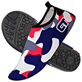 SXSTORY Water Shoes for Women and Men Aqua Socks Quick-Dry Lightweight Socks Barefoot for Outdoor Beach Surfing Swimming Yoga, Camouflage, 7-8 Women/6-7 Men
