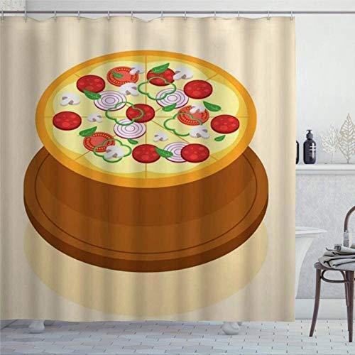 EricauBird Duschvorhang Pizza Holz Serviertablett flach Pilz Zwiebeln Salami Glocke Pfeffer Tomaten Essen Duschvorhang mit Ringe Polyestergewebe Duschvorhänge mit Haken Bad Badezimmer Dekor