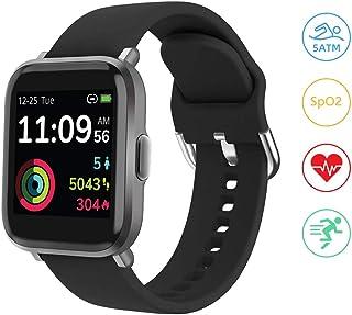 YONMIG Smartwatch, Reloj Inteligente Mujer Hombre con Oxigeno(SpO2), Pulsera Actividad Inteligente Impermeable 5ATM con Brújula Monitor de Sueño Contador Caloría Pulsómetros para Android y iOS (Negro)