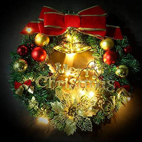 ZXMDP Kerstdecoratie Garland kerstkrans decoratie met LED-licht versierde krans voor deur trappen open haard binnen buiten