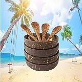 Tiamu Set de Boles de Coco con Cubiertos, Cuencos y Cucharas de Coco (Juego de 4), Tazones de coco...