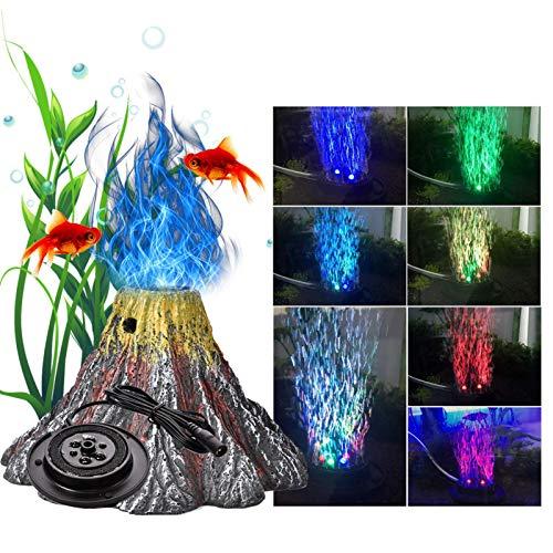ZSLGOGO LED Volcan Acuario, Luz de la Burbuja del Acuario, Acuarios Accesorios, Piedras para peceras, Bomba de Aire Acuario, 7 Colores, 15x15x10cm
