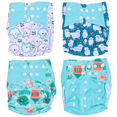 KESYOO 4 Peças de Calça de Fralda de Bebê de Poliéster Lavável E Reutilizável Fralda de Criança de Pano Ajustável Fraldas Infantis para Presentes de Chá de Bebê (Verde Claro)