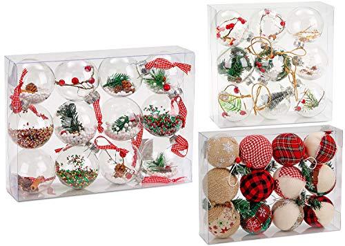 Brubaker 12-teiliges Set Acryl Weihnachtskugeln Christbaumkugeln transparent durchsichtig - befüllt - Ø 8 cm - Christbaumanhänger