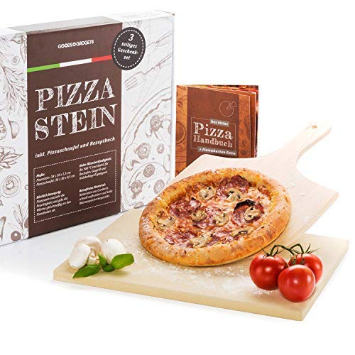 GOODS+GADGETS Pizzastein und Pizzaschieber Set - Pizzaschaufel & Backstein, für Backofen und Grill, Cordierit Pizzaofen-Material 3-teiliges Set: Backstein, Pizzaschieber & Handbuch