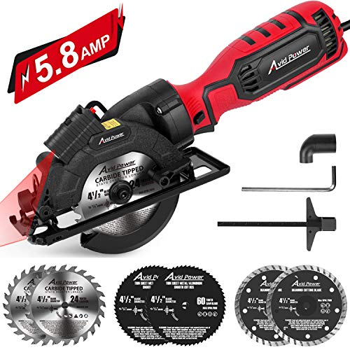 Avid Power Circular Saw, 4-1/2' Compact Electric Circular Saw 5.8A with 6 Saw Blades, Laser Guide, Scale Ruler, Ideal for Wood, Soft Metal, Tile, and Plastic Cuts