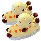 Zapatilla Unisex para Animales Adultos, Zapatillas de Invierno Elefante cálido/Jirafa/Koala/Hámster/Conejo, Zapatos de Felpa casera de Dibujos Animados (35/38 EU,Giraffe)