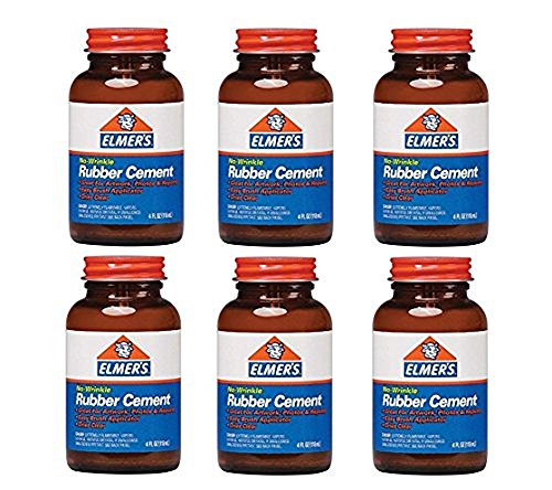 Elmers No-Wrinkle Rubber Cement with Brush (904) - Pack of 6