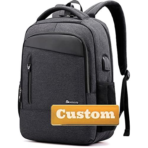 Nome personalizzato Ragazze adolescenti con tascabile 15.6 Zaino per laptop per uomo Port USB Donne School (Color : Huilan, Size : One size)