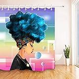 123456789 Juego de Cortinas de Ducha de Tela de Peinado Afro Africano Turbante Tradicional para Mujeres africanas