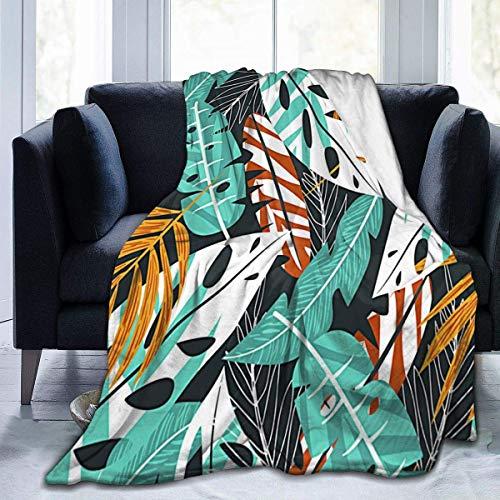 Summertropical Leaves Fuzzy Throw Blanket Franela All Seasons Terciopelo térmico cálido y cómodo Edredón Delgado portátil Sofá para el hogar Oficina, 50'x40
