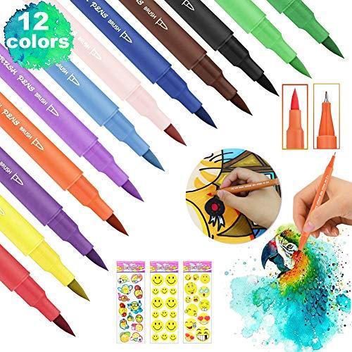 Pinselstifte 12 Farben,Dual Brush Pen Set,Pinselstifte Aquarell Set,Doppelfasermaler Kinder,Doppelfilzstifte,Marker Stifte Brush,Marker Stifte für Bullet Journal Zubehör