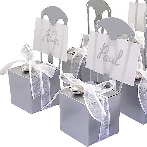 EinsSein 48x Caja de Regalo Boda Silla Plata Cajas Bonitas para cajitas Regalos Bombones Carton bolsitas Papel chuches Bodas Bautizo pequeñas pequeña recordatorios comunion Navidad Decorar