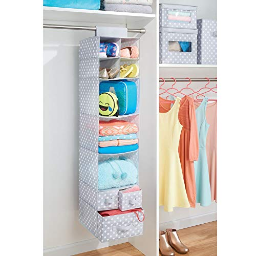 mDesign Soft Fabric Over Closet Rod Hanging Storage Organizer with 7 Shelves and 3 Removable Drawers for Clothes, Leggings, Lingerie, T-Shirts - Polka Dot Print - Light Gray/White