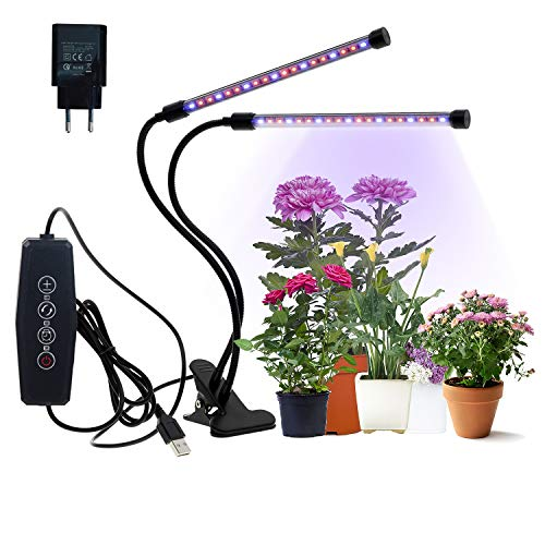 CPROSP LED Pflanzenlampe 20W mit 40 LEDs mit Adapter Wachstumslampe für Zimmerpflanzen, mit 3 Timer 3/6/12H Automatische EIN/Ausschalten mit 5 Helligkeitmodi