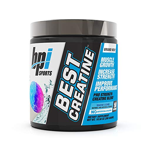 BPI Sports Best Creatine  Creatine Monohydrate Himalayan Salt  strength Pump Endurance Muscle Growth Muscle Definition  No Bloat  Snow Cone  50 servings  1058 Oz