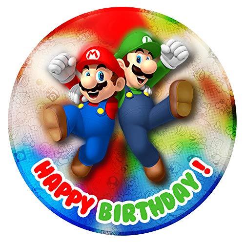 Tortenaufleger Geburtstag Super Mario Bros Fan Motiv Essbare Tortendeko Tortenbild Kuchendekoration Fondant Rund Ø20CM