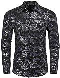 COOFANDY Mens Paisley Shirt Luxury Design Long Sleeve Slim Fit Button Down Shirts,Black,XX-Large
