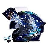 Letetexi Casco Moto Modulare Bluetooth Integrato, Certificazione ECE Caschi Modulari Apribili Dual Visor Anti-Fog Caschi, Casco Moto Integrale Flip Up Robusto per Uomini Donne 54~63cm