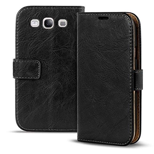 Verco Galaxy S3 Hülle, Premium Handy Schutzhülle für Samsung Galaxy S3 Neo Hülle PU Leder Wallet Tasche Retro Flipcase, Schwarz