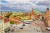 1000 piezas: vista aérea de la plaza del castillo en Varsovia, Polonia Old Town Stock Rompecabezas de madera DIY Niños Rompecabezas educativos Regalo de descompresión para adultos Juegos creativos Ju