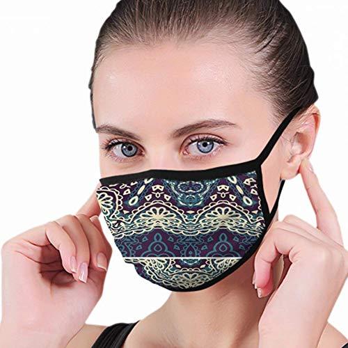 Mascherina per bocca decorativa con rosette e medaglione in stile vintage, maschera regolabile per la protezione dal fumo di polvere.