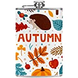 Bennigiry, matraz para hombre, otoño, lindo erizo, calabaza, bellota, setas, frascos de bolsillo de acero inoxidable a prueba de fugas para licor