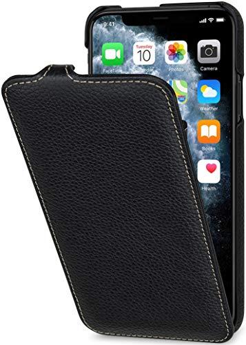 StilGut UltraSlim entwickelt für iPhone 11 Pro Max Hülle - iPhone 11 Pro Max Flip Hülle aus Leder, Klapphülle, Handyhülle, Lederhülle - Schwarz