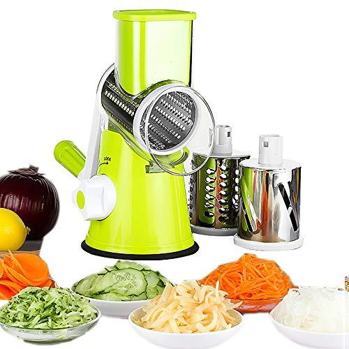 Gohyo Mandoline Slicer,Rotatorio Manual,Trituradora de Frutas Vegetales, rallador de Queso, Cortador de Papas, Molinillo de nueces, picadora de Verduras,3 Cuchillas de Acero Inoxidable (Verde)