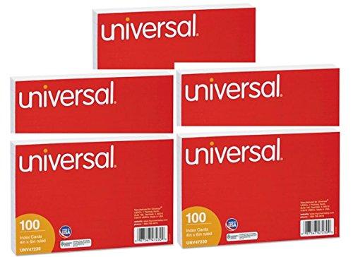 Universal ruled tarjetas de índice, 4'x 6, color blanco, 500unidades