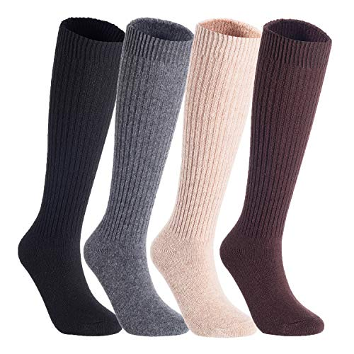 Lian LifeStyle Non Slip, Exceptional, Cozy and Cool Women's 4 Pairs Knee High Wool Crew Socks JH05 Size 6-9(Black,Grey,Beige,Brown)
