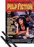 1art1 Pulp Fiction Póster (91x61 cm) Cartel De La Película, Quentin Tarantino Y 1 Lote De 2 Varillas Negras