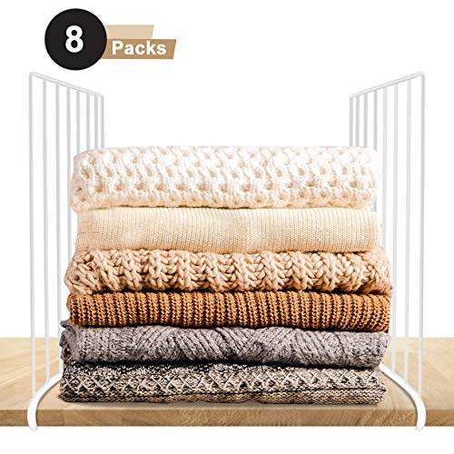 Urban Deco Closet Shelf Dividers-Wire Shelf Wood Closet Organizers and Storage-8 Packs White Coated Steel Shelve Dividers for Clothes Purse Towel Wardrobe Kitchen Pantry Organization.