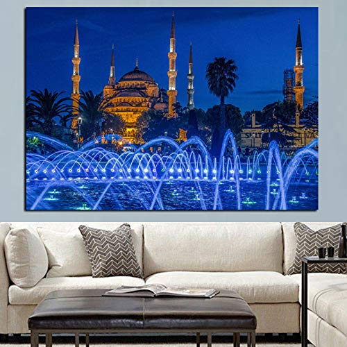 HD Print Islamic Blue Türkei Istanbul Istanbul Sultan Ahmed Moschee Religiöses Plakat Rahmenlose dekorative Gemälde Wohnzimmer Sofa A85 60x90cm