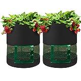 Confezione da 2 sacchetti per coltivazione di patate da 7 galloni – Borsa per coltivazione di piante da giardinaggio – Contenitore per piante con maniglie trasparenti per fragole