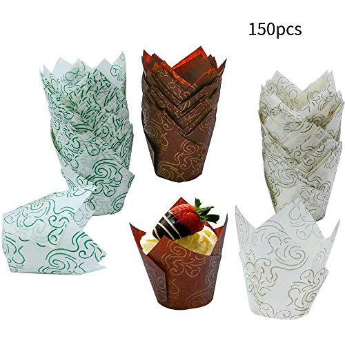 Muffins Backform Papier,Womdee 150 Stücke Tulpen Backpapier Schalen,tulpen muffinförmchen,Backformen Muffin Dosen Leckerbecher für Hochzeiten, Geburtstage, Baby-Duschen