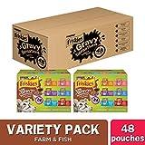 Purina Friskies Gravy Wet Cat Food Variety Pack, Gravy Sensations Farm & Fish Pouches - (2 Packs of 24) 3 oz. Pouches