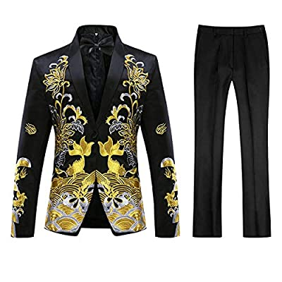 Mens Patterned Embroidered Dress 2 Piece Suit Set Slim Fit Blazer Jacket & Trousers (Black, XX-Large) by