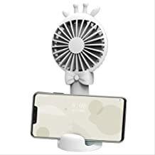 QXAW Usb Fans Usb Charging Fan 2 In 1 Mini Fawn Shape Handheld Desktop Phone Holder Fan Three-Speed Wind Adjustable Fan White Fan