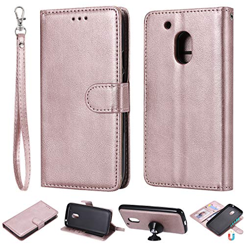 nancencen Kompatibel mit Motorola Moto G4 Play Handyhülle, Magnetische TPU 2 in 1 Wallet (Karten Slot) Schutzhülle PU Leder Flip Cover Lederhülle Hülle - Roségold